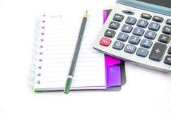 Crayon et calculatrice de carnet Image libre de droits