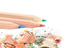 Crayon et copeaux Images libres de droits