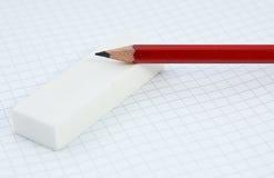 Crayon et gomme à effacer Photos stock