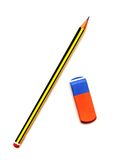 Crayon et gomme à effacer Images libres de droits