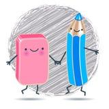 Crayon et gomme drôles dans la perspective de la trappe Photographie stock