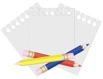 Crayon et papier pour des notes. Photographie stock libre de droits