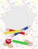 Crayon et papier pour des notes. Image stock