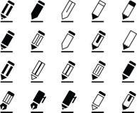 Crayon et Pen Icons d'écriture Illustration Libre de Droits