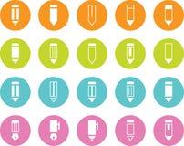 Crayon et Pen Various Icons de cercle coloré Illustration Stock