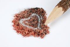Crayon et poussière en bois Photo stock