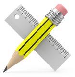 Crayon et règle Photographie stock libre de droits