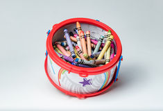 Crayon filled toy drum Stock Images