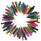 Crayon Frame. Frame made of Crayons on a white background Royalty Free Stock Images