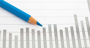 Crayon and graph Royalty Free Stock Images