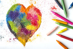 Crayon heart shape abstract handmade symbol Royalty Free Stock Photography