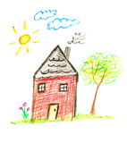 Crayon house. Child like drawing of charming little red house, this original is done with crayons