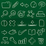 Crayon icons database (vector). Database icon set: crayon (vector). Original editable lines in AI CS2 file Stock Image