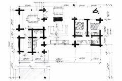 Crayon illustration of a house plan draft Stock Images