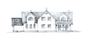 Crayon illustration of a house plan Royalty Free Stock Photography