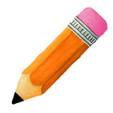 Crayon incliné tiré par la main avec la gomme à effacer Photo libre de droits