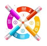 Crayon Infographic de bannière d'option Vecteur Images libres de droits