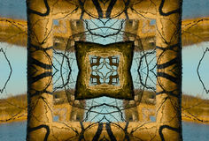 Crayon Kaleidoscope. A kaleidoscope, abstract fantasy, illustration, can be used as a background stock photos