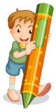 Crayon kid. Illustration of boy with large crayon Royalty Free Stock Photo