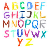 Crayon kids drawn colorful font isolated