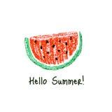 Crayon kids drawn watermelon slice Royalty Free Stock Images
