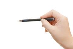 Crayon lecteur chez la main de la femme photos stock