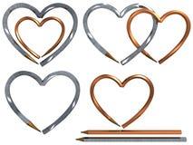 Crayon lecteur dans la forme de coeur d'isolement Photographie stock