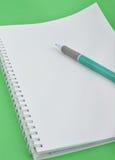 Crayon lecteur de cahier et de bille Images libres de droits
