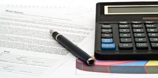 crayon lecteur de calculatrice Photographie stock libre de droits