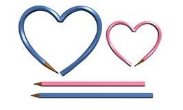 Crayon lecteur de deux couleurs dans la forme de coeur d'isolement Photographie stock libre de droits