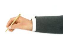 Crayon lecteur de fixation de la main de l'homme d'affaires Image stock