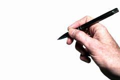 Crayon lecteur de fixation de main d'isolement sur le blanc Images stock