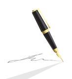 Crayon lecteur de vecteur effectuant la signature illustration libre de droits