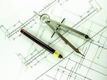 Crayon lecteur et compas techniques Photo libre de droits