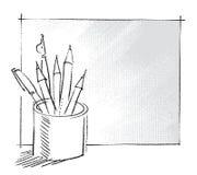 Crayon lecteur et crayons dans un bidon Illustration de Vecteur