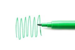 Crayon lecteur feutre vert d'isolement sur le fond blanc Image stock