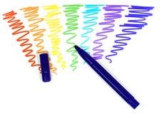 Crayon lecteur feutre violet avec le capuchon retiré Photographie stock