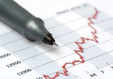 Crayon lecteur gris sur le diagramme croissant de cours d'actions Images stock