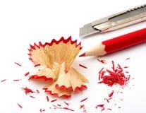 Crayon lecteur pointu avec le couteau Photos libres de droits