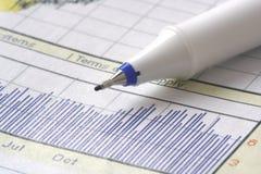 Crayon lecteur sur le diagramme courant Image stock