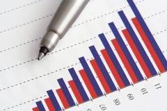 Crayon lecteur sur le graphique Photo stock