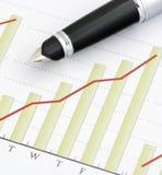 Crayon lecteur sur le graphique positif de revenu Image libre de droits