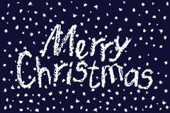 Crayon like child`s drawing merry christmas funny text on dark blue background with falling snowflakes. Stock Photos