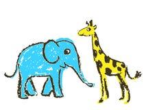 Crayon like kid`s hand drawn wild animals. Giraffe and elephant isolated on white. royalty free illustration