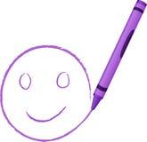 crayon lycklig tecknad framsida Royaltyfri Fotografi