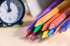Crayon ,Many colorful. On a wooden background Stock Photos