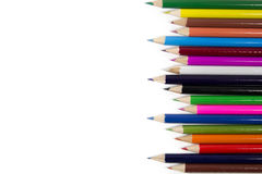 Crayon. Many pencil sticks on plain white paper Royalty Free Stock Photography