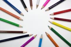 Crayon. Many pencil sticks on plain white paper Royalty Free Stock Photo