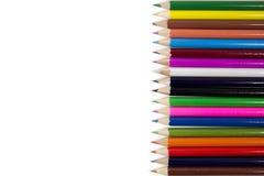 Crayon. Many pencil sticks on plain white paper Stock Photos