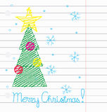 Crayon Merry Christmas vector. Vector illustration of Christmas tree drawing with crayon on a lined paper Royalty Free Stock Photos